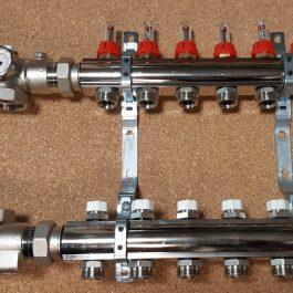 Розподільник з насосною групою, витратомірами і відсічними клапанами Luxor 1″ х 6 х 1/2″ рВ