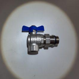 Кран кульовий кутовий SAS  1″ з розбірним з'єднанням Ring