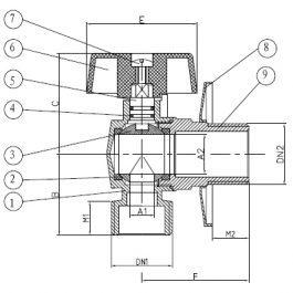 Кран кутовий SAS 1/2″× 1/2″,хром