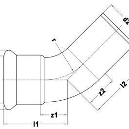 Коліно KAN-therm Steel Ø 28×45° ніпельне