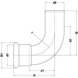 Коліно KAN-therm Steel Ø 35×90° ніпельне
