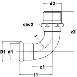Коліно різьбове KAN-therm Steel Ø 28×1″ рЗ