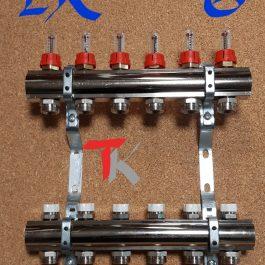 Розподільник латунний з витратомірами і відсічними клапанами Luxor 1″ х 5 х 1/2″ рВ