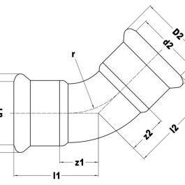 Коліно KAN-therm Steel Ø 28×45°