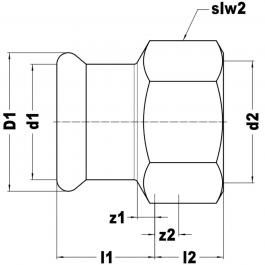 З'єднання  різьбове KAN-therm Steel Ø 35×1 1/4″ рВ