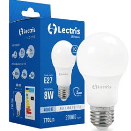 Світлодіодна лампа Lectris А60 8W 4000K E27